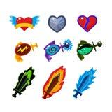 Arma e iconos fijados para los juegos Imágenes de archivo libres de regalías