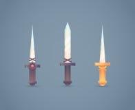Arma fría medieval de la fantasía fijada en plano-estilo Imagenes de archivo