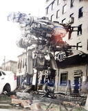 Arma Mech futurista do robô com disposição completa de armas em uma cidade das ruínas Foto de Stock Royalty Free