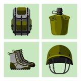 A arma militar atira em cartões das forças da armadura ilustração royalty free