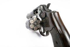 Arma negro del revólver aislado en el fondo blanco Imagen de archivo