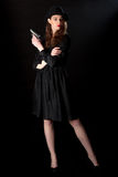 Arma noir da menina do filme Fotografia de Stock Royalty Free