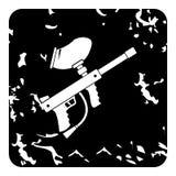 Arma para el icono de Paintball, estilo del grunge Imagen de archivo libre de regalías