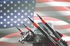 Arma química com a bandeira do Estados Unidos Imagens de Stock