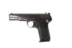 Arma semiautomático de 9m m aislado en el fondo blanco Foto de archivo libre de regalías