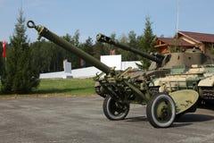 Arma verde viejo del cañón del campo de la artillería Fotografía de archivo