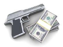 Arma y dinero Imágenes de archivo libres de regalías