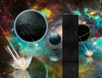 Armaageddon and Monolith. Planetary Armageddon. Massive meteorite - asteroid shower destroy planets. Black mystic monolith. 3D rendering. Some elements image Stock Photo