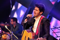Armaan malik at udaipur. Singer singing at stage Royalty Free Stock Photos