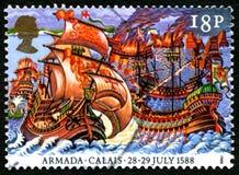 Armada Invencible en sello BRITÁNICO de Calais Imágenes de archivo libres de regalías