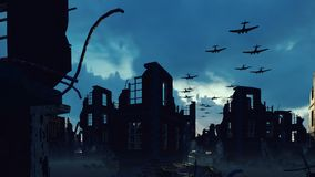 An Armada of military aircraft flies over the ruins of a ruined deserted city.
