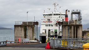 Car ferry ready to unload in Armadale,  Scotland. ARMADALE, SKYE, SCOTLAND - SEPTEMBER 23, 2014: car ferry ready to unload vehicles and passengers through the Royalty Free Stock Photography