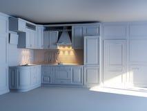 Armadi da cucina classici nel nuovo interno Fotografia Stock
