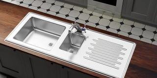 Armadi da cucina con il lavandino dell'acciaio inossidabile ed il rubinetto di acqua, vista da sopra illustrazione 3D Fotografia Stock