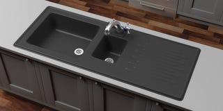 Armadi da cucina con il rubinetto nero di acqua e del lavandino, vista da sopra illustrazione 3D Immagini Stock Libere da Diritti