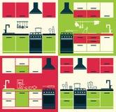 Armadi da cucina ed attrezzature di famiglia moderni Fotografia Stock