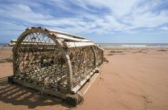Armadilha da lagosta na praia Fotos de Stock Royalty Free