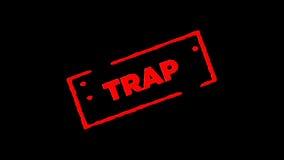 A armadilha de borracha vermelha do selo da tinta assinada zumbe dentro e zumbe para fora com fundos da transparência do canal al vídeos de arquivo