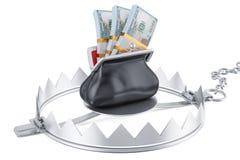 A armadilha do dinheiro com dólar completo da bolsa embala, a rendição 3D ilustração do vetor