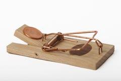 Armadilha do rato carregada com o dinheiro Fotografia de Stock Royalty Free