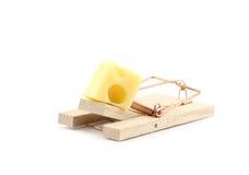 Armadilha do rato com o queijo isolado Fotografia de Stock