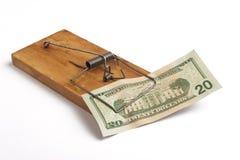 Armadilha do rato e um dólar Imagens de Stock Royalty Free