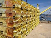 Armadilhas amarelas da lagosta imagem de stock royalty free