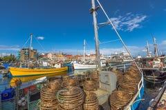 Armadilhas da lagosta no barco, Hobart imagens de stock