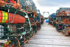 Armadilhas e bóias da lagosta Fotos de Stock Royalty Free