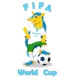 armadillo De Wereldbekermascotte van FIFA op wit wordt geïsoleerd dat Stock Foto