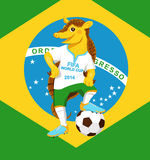 Armadillo. FIFA World Cup mascot. Smiling funny armadillo wearing a football uniform Stock Images