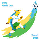 Armadillo playing football.  FIFA World Cup mascot. Funny armadillo wearing a football uniform is passing ball Royalty Free Stock Photography