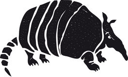Armadillo. Stylized black and white drawing of armadillo Stock Photography