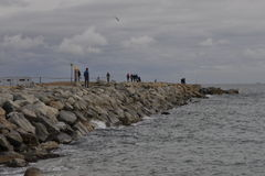 Armadura de la roca en la playa de Barceloneta Imagen de archivo