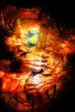 Armadura del caballero del detalle Guantes y espada de un caballero Fondo cósmico ilustración del vector
