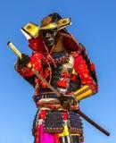 A armadura do guerreiro do samurai puxa o ataque da espada Foto de Stock Royalty Free