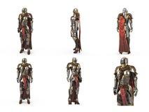 Armadura medieval da fantasia completamente das mulheres com um capacete fechado e um cabo vermelho Fundo branco isolado ilustraç foto de stock