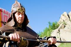 Armadura mongol que desgasta europea Fotografía de archivo libre de regalías