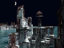 Armageddon στην τρισδιάστατη απόδοση της Νέας Υόρκης διανυσματική απεικόνιση
