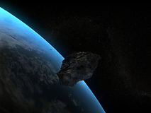 Armageddon. Asteroid in orbit of the earth Stock Photography