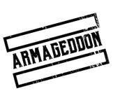 Armageddon advertising sticker. Label, stamp on white vector illustration