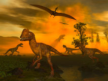 Armageddon. Dilophosaurus & Pteranodon 3d rendered image Stock Images