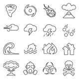 Armageddon or Disaster Icons Thin Line Vector Illustration Set. This image is a vector illustration and can be scaled to any size without loss of resolution Royalty Free Stock Images