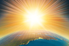 Armageddon on Earth. Armageddon blast on planet Earth. End of the world aerial  view Stock Images