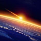 Armageddon (element som möbleras av NASA) royaltyfri bild