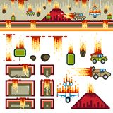 Armageddon flat game level kit. Big `Armageddon` flat game kit with objects and background for creating a video game vector illustration