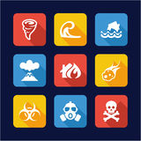 Armageddon Icons Flat Design Stock Photography