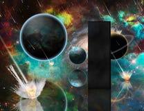 Armageddon and Monolith. Planetary Armageddon. Massive meteorite - asteroid shower destroy planets. Black mystic monolith. Some elements image credit NASA royalty free illustration