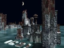 Armageddon in New York 3d rendering. Armageddon in New York at night Royalty Free Stock Image