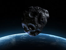 Armageddon scene. 3d rendered armageddon scene with an asteroid Royalty Free Stock Photo